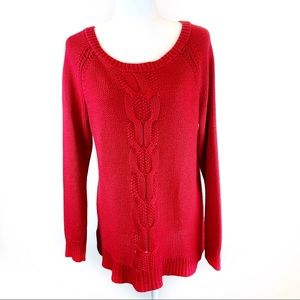 Apt. 9 Red Orange Cable Knit Pullover Sweater EUC